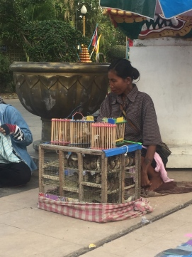 Birds are bought to release for good luck